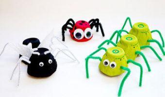 manualidades para niños con hueveras, animales